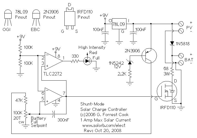 Схема контроллера заряда аккумулятора